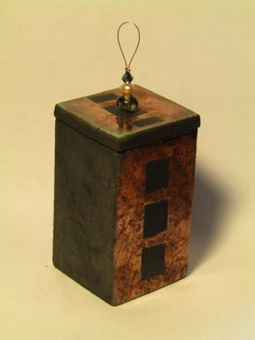 Copper glazed raku lidded box